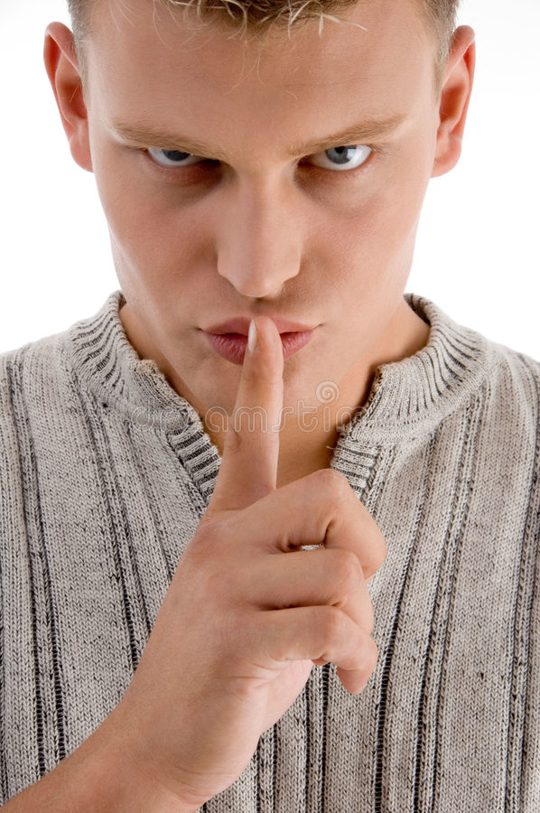 Download Man Instructing You To Be Silent Stock Photo - Image: 7042658