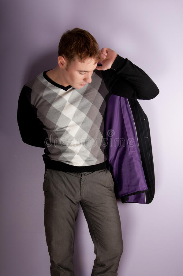Download Man with jacket stock image. Image of calm, cute, model - 18832683