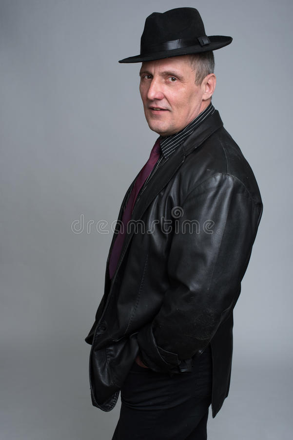 A man in a jacket isolated stock image