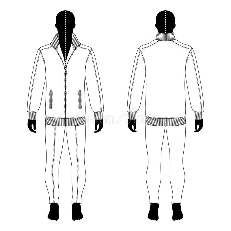 Man in jacket, jeans. Full length man`s black silhouette figure in a jacket with zipper and skinny jeans template front & back view, vector illustration isolated vector illustration