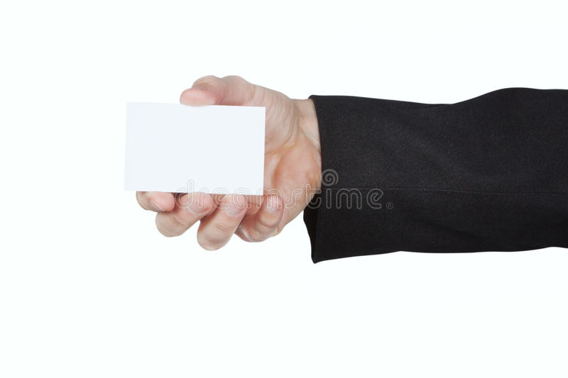 Man in the jacket keeps a blank card. On a white background stock images