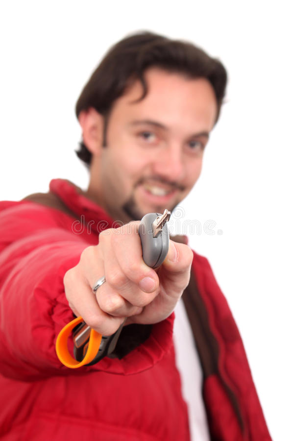 Download Man in the jacket with key stock image. Image of person - 14841801