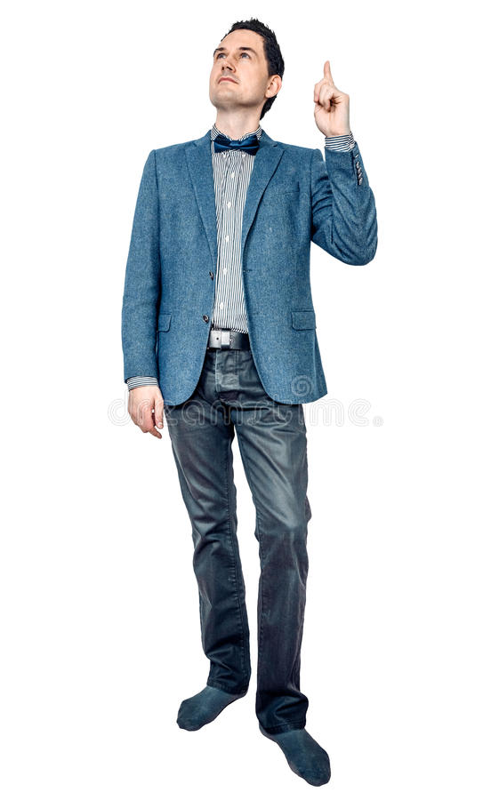 Man in jacket pointing up royalty free stock images