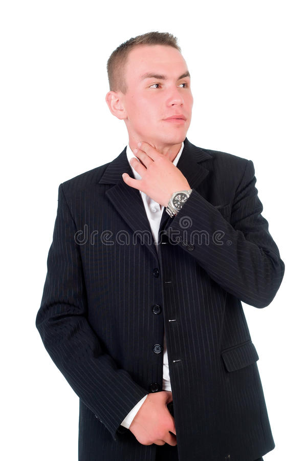 A man in a jacket on a white background