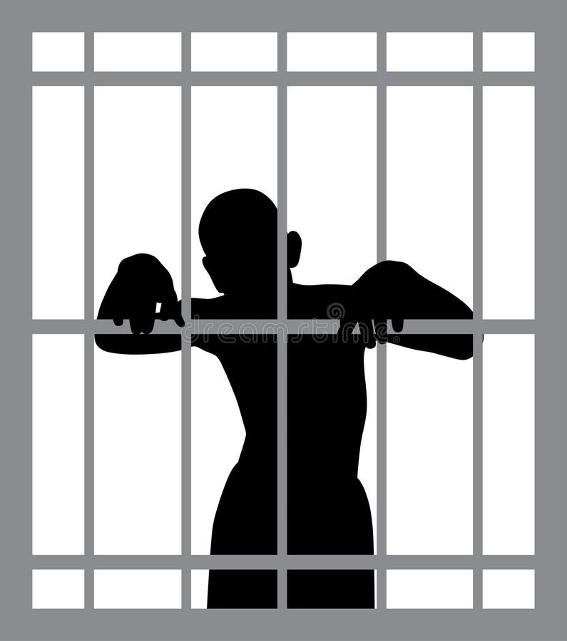 Man in jail. Illustration of a man in jail. EPS file available royalty free illustration