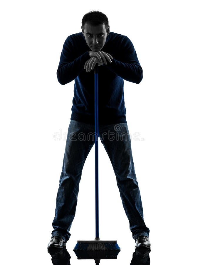 Download Man Janitor Brooming Cleaner Boredom Silhouette Stock Photo - Image: 27746512