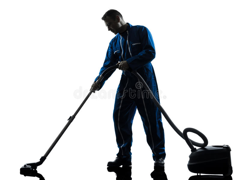 Man janitor vaccum cleaner cleaning silhouette stock photo