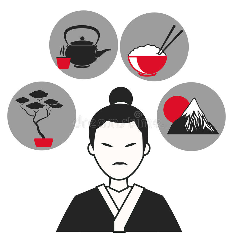 Man japanese traditional clothes symbol icons. Vector illustration eps 10 stock illustration