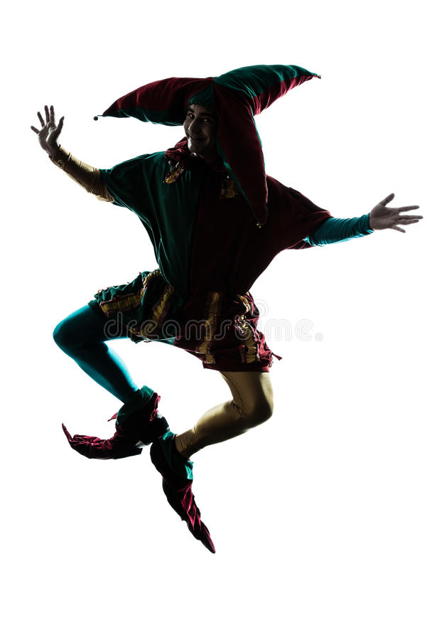Download Man In Jester Costume Silhouette Jumping Stock Photos - Image: 25445463