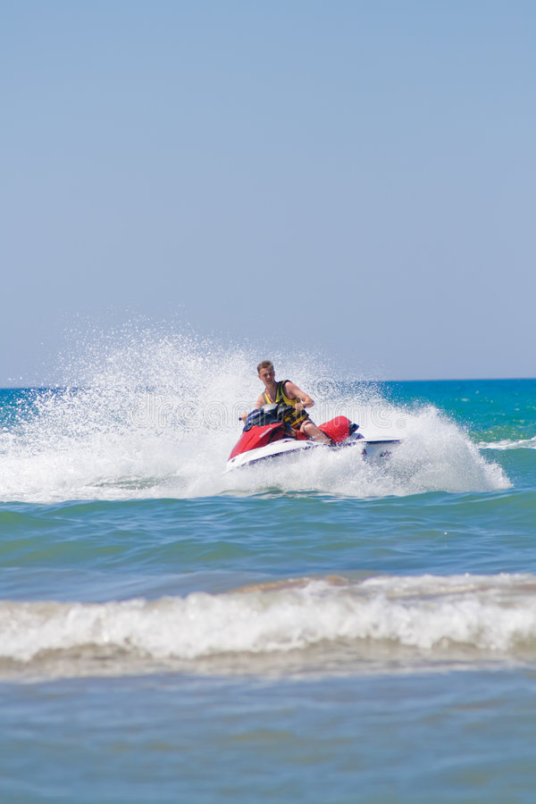 Man on a jet-ski royalty free stock photos