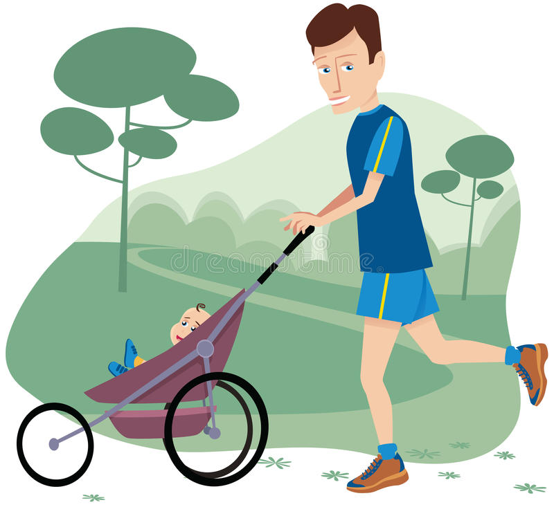 Man jogging with baby stroller stock photography