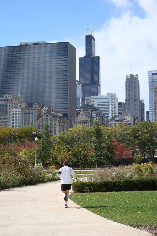 Download Man jogging in Chicago stock image. Image of recreation - 2314259