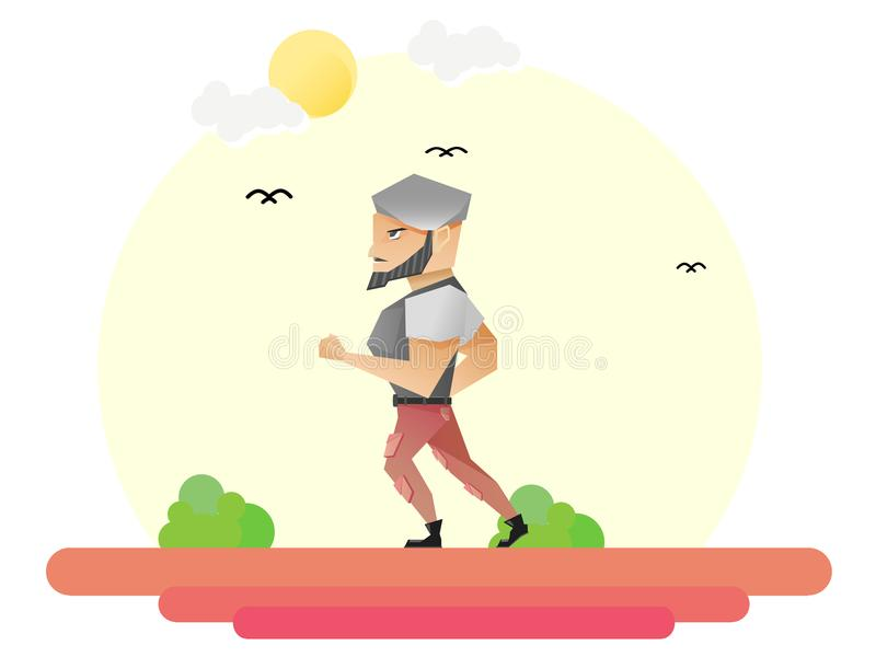 The man jogging. Illustration of a bearded man wearing a beret that was jogging in the morning royalty free illustration