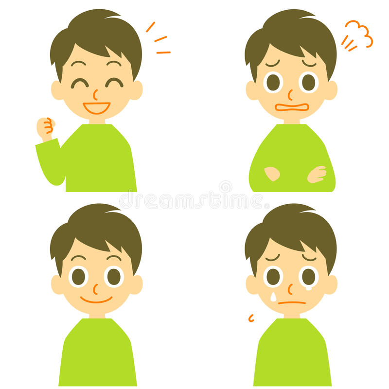 Man, joyful, angry, weep. Man expressions, joyful, angry, weeping tearful face, file vector illustration