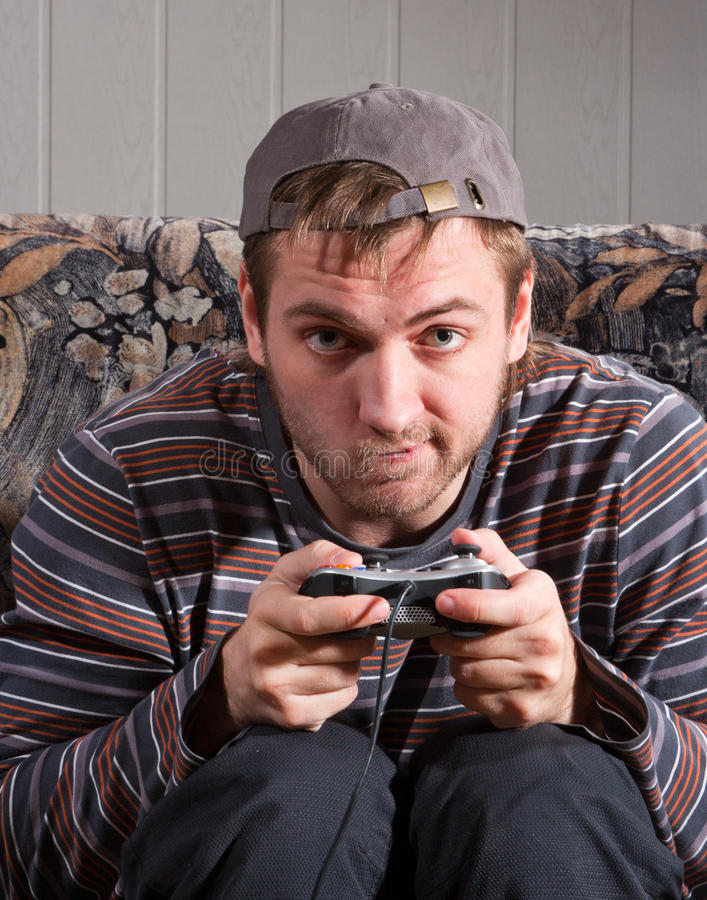 Download Man With Joystick Playing Video Games Stock Image - Image: 18451529