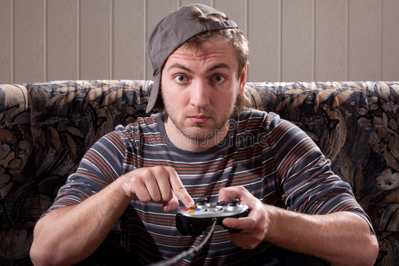 Download Man With Joystick Playing Video Games Stock Image - Image: 18451539