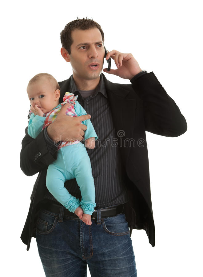 Man juggling in being businessman and a father royalty free stock images