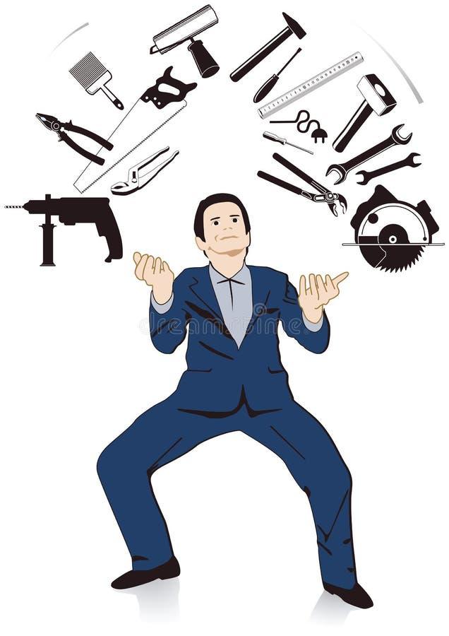 Man juggling tools stock illustration