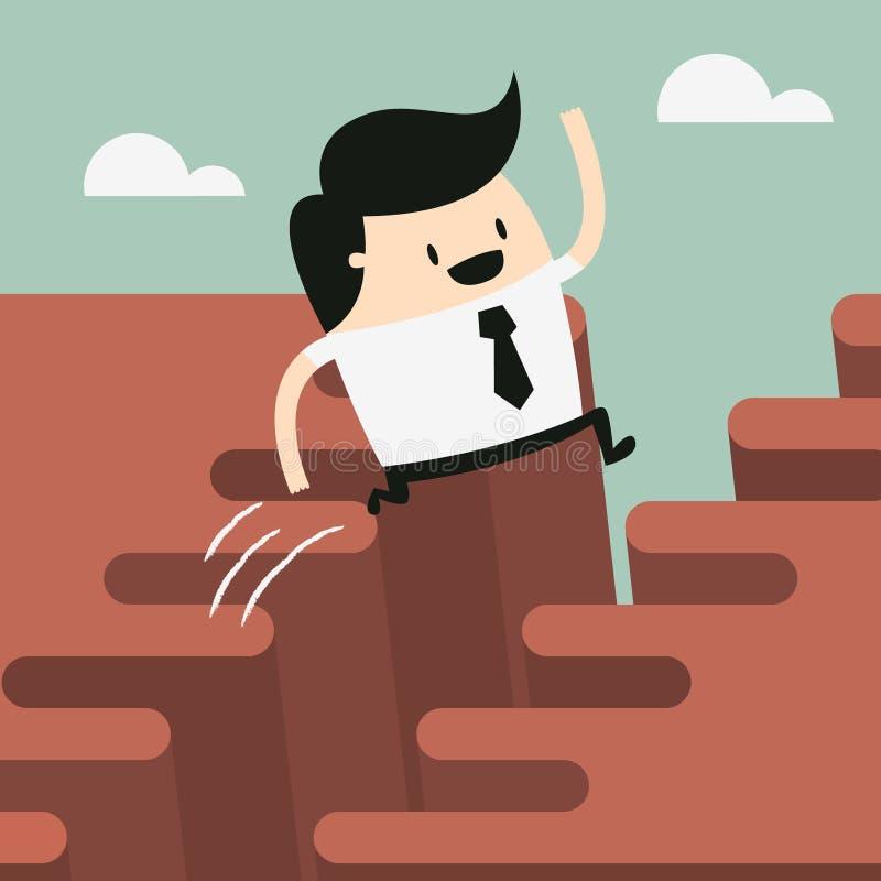 Man jump through the gap. Businessman jump happy from cliff over gap vector illustration