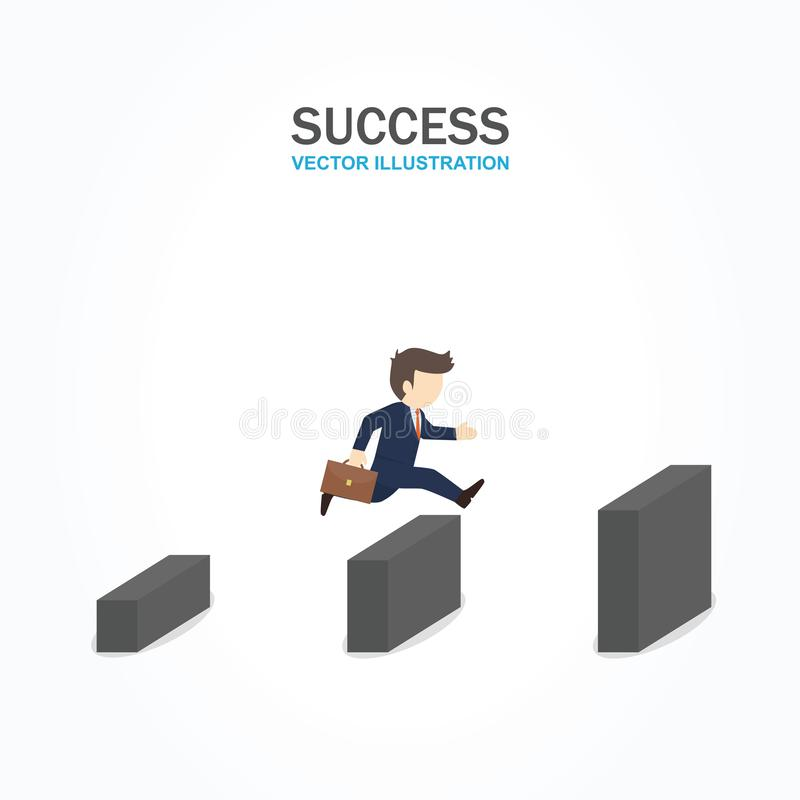 Man jump over the higher wall. Success Concept. vector illustration