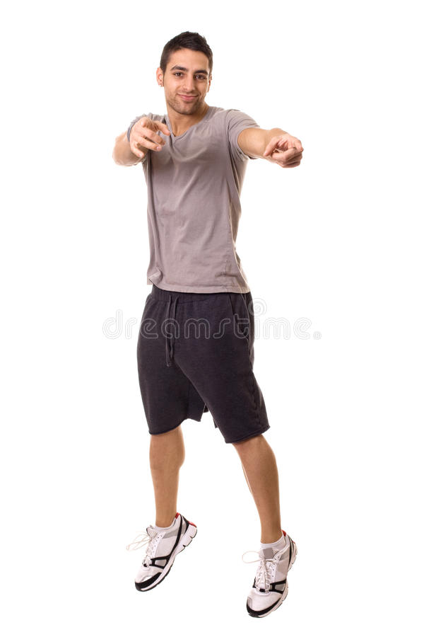 Man Jumping. Young man jumping. Studio shot over white stock photography