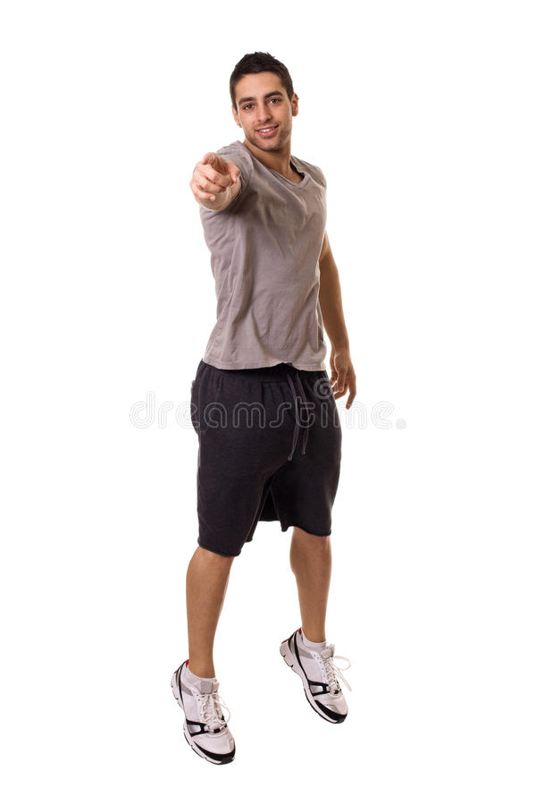 Man Jumping. Young man jumping. Studio shot over white royalty free stock photography