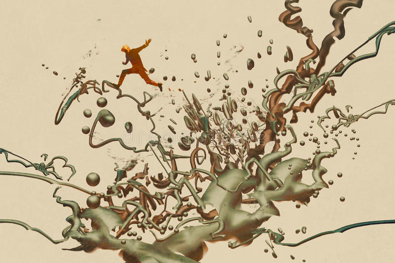Man jumping on the abstract form vector illustration