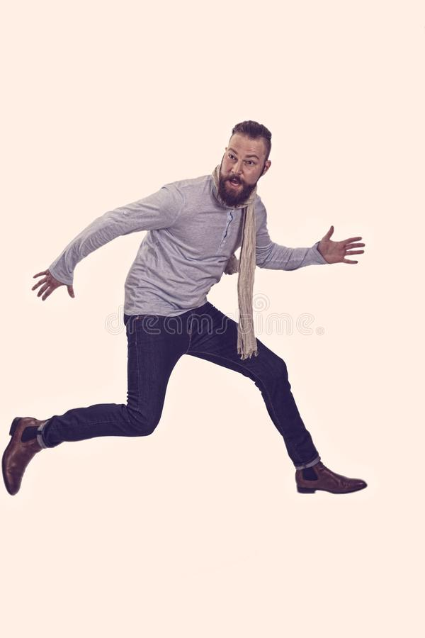 Man is jumping in the air stock photos