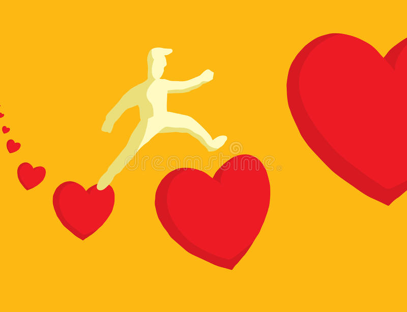 Man jumping between hearts. Cartoon illustration of man in love jumping between hearts vector illustration