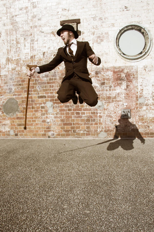 Download Man Jumping For Joy stock photo. Image of pranced, cane - 15039474
