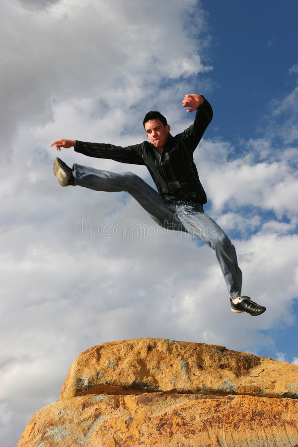 Man jumping of joy stock photo