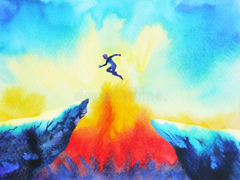 Man jumping leap over to success power, abstract stock illustration