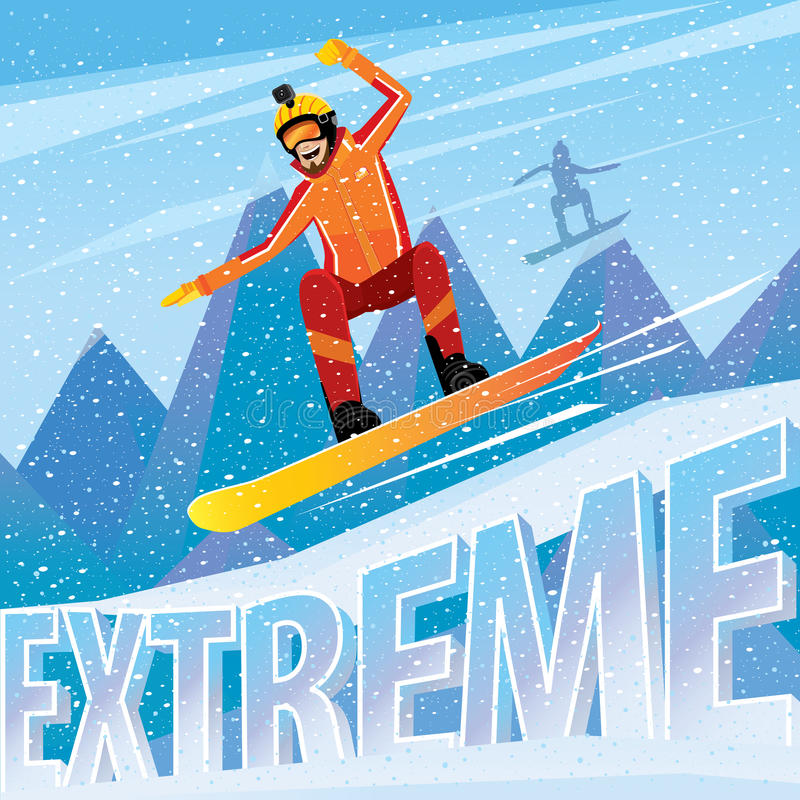 Man jumping from the mountain on a snowboard. Downhill from the mountain on a snowboard - extreme sports concept stock illustration
