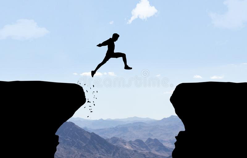 Man jumping over abyss. Man jumping over abyss in front of mountain background vector illustration