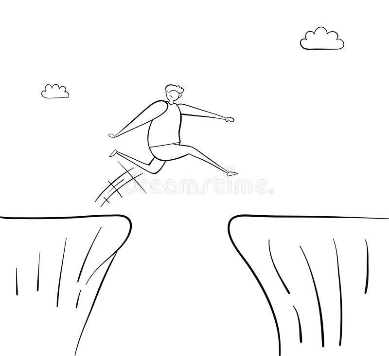 Man jumping over abyss, hand-drawn vector illustration. Black outlines, white. Man jumping over abyss, hand-drawn vector illustration. Black outlines and white vector illustration