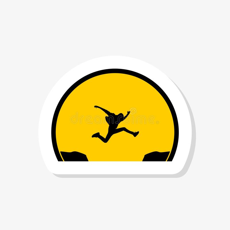Man jumping over the abyss sticker. Flat design simple illustration. Paper sticker royalty free illustration