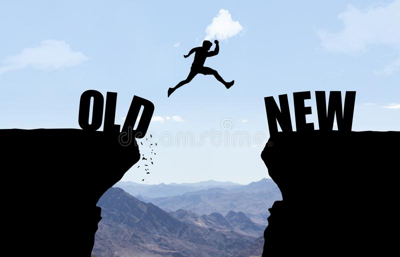 Man jumping over abyss with text OLD/NEW. Man jumping over abyss with text OLD/NEW in front of mountain background vector illustration