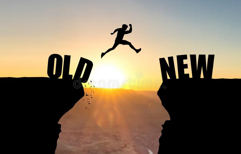 Man jumping over abyss with text OLD/NEW. Man jumping over abyss with text OLD/NEW in front of sunset royalty free illustration