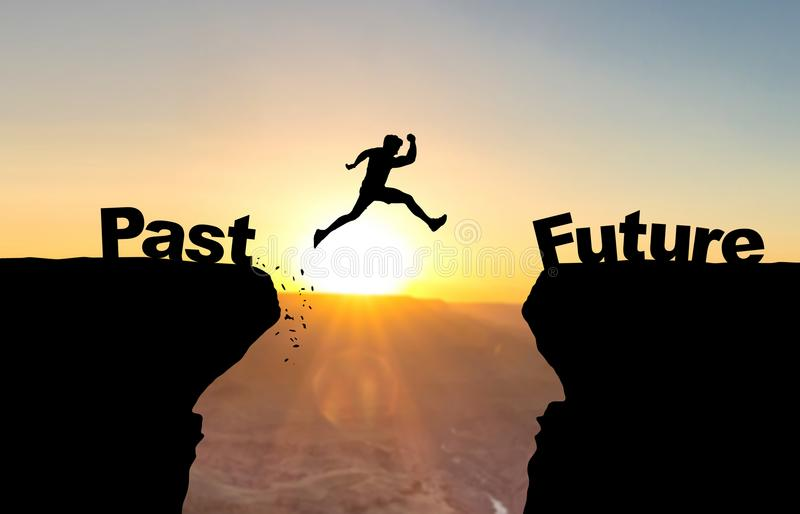 Man jumping over abyss with text Past/Future. Man jumping over abyss with text Past/Future in front of sunset vector illustration