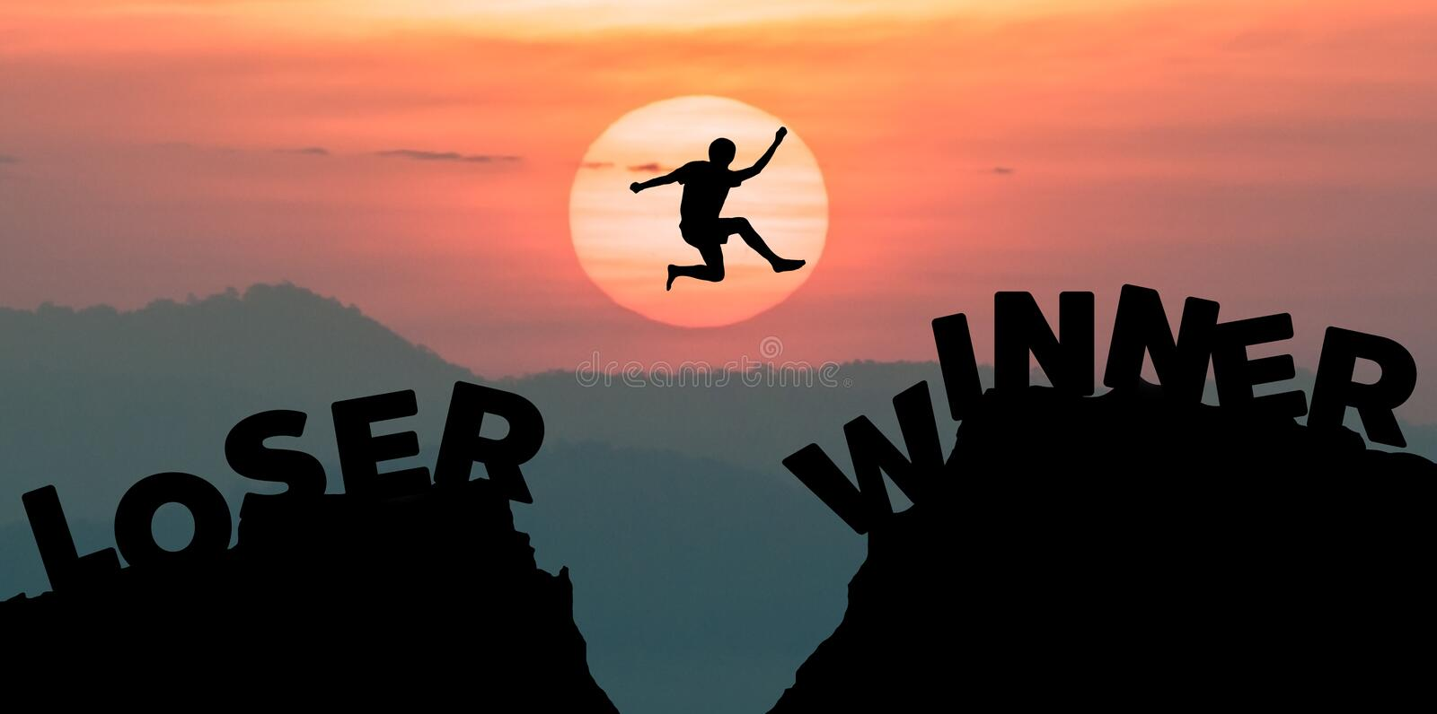 Man jumping over precipice between two rocky mountains at sunset royalty free stock image