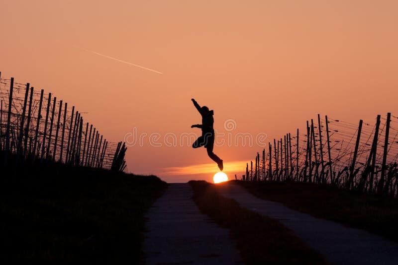 Man jumping in sunset royalty free stock photos