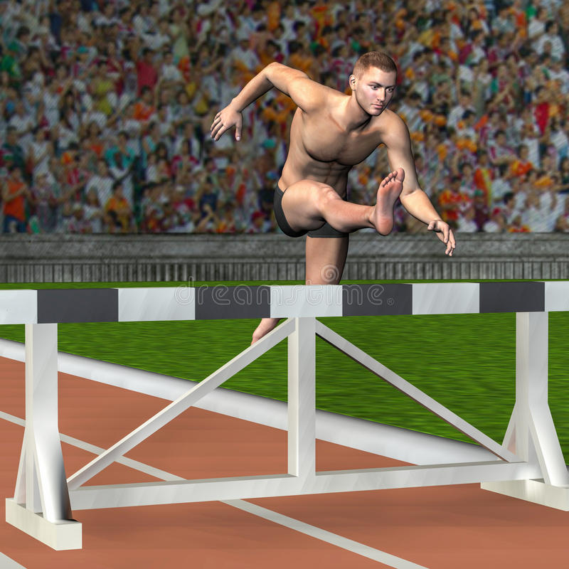 Download Man jumps over a hurdle stock illustration. Image of health - 26395787