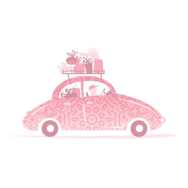 Man körning av den rosa bilen med gåvor på taket royaltyfri illustrationer
