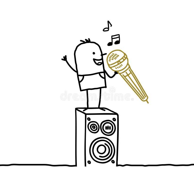 Man & karaoke. Hand drawn cartoon characters - man & karaoke