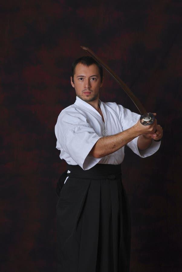 A man with katana royalty free stock photos