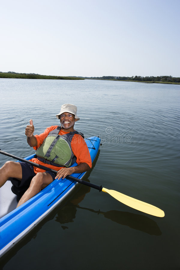Man in kayak. stock image