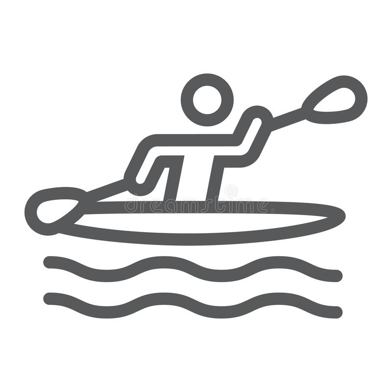 Man kayaking line icon, sport and rowing, canoeing sign, vector graphics, a linear pattern on a white background. royalty free illustration