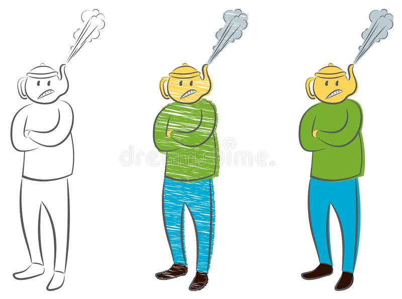 Man with the kettle instead of a head with a steam pulled out. Concept of anger. Angry boss manager businessman. vector illustration