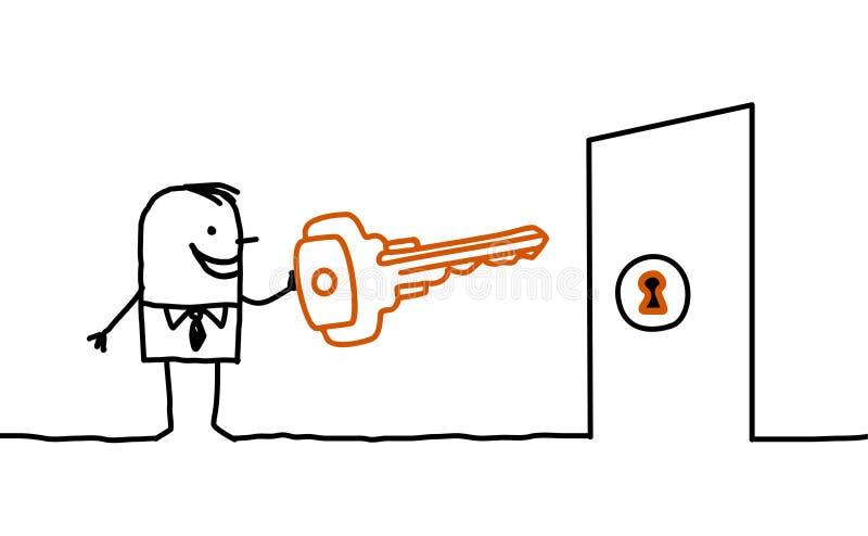 Man & key. Vector hand drawn characters line