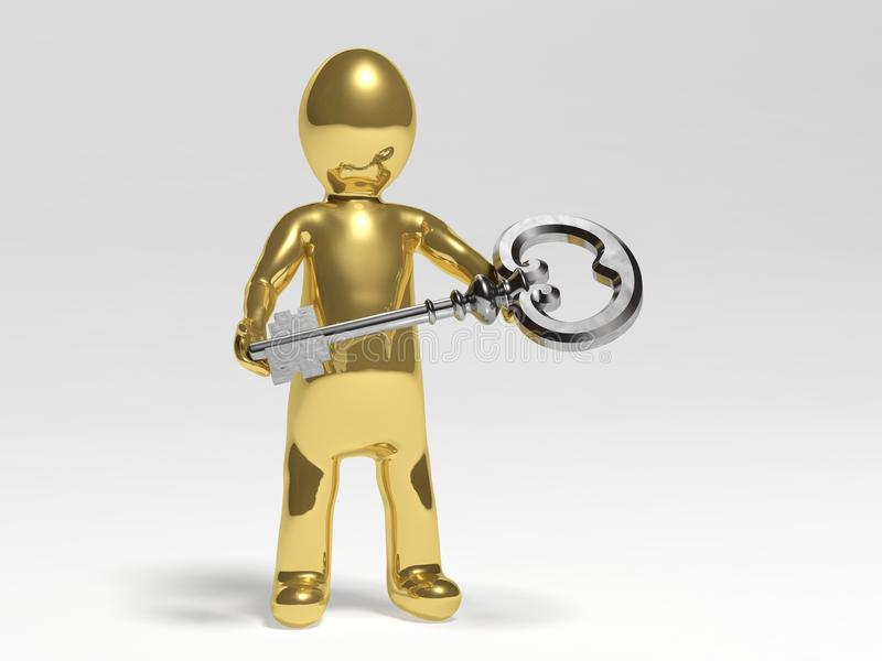 Man with a key royalty free illustration